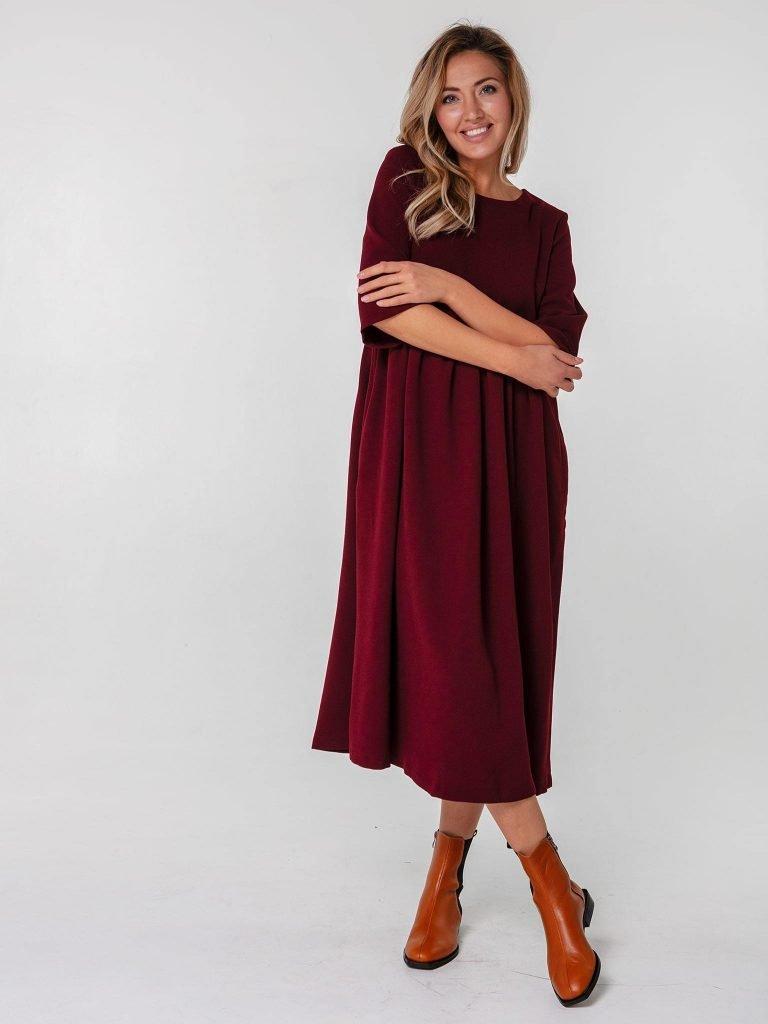 Bordowa sukienka maxi luźna w kroju Katarina Ivanenko (zdjęcie 2)