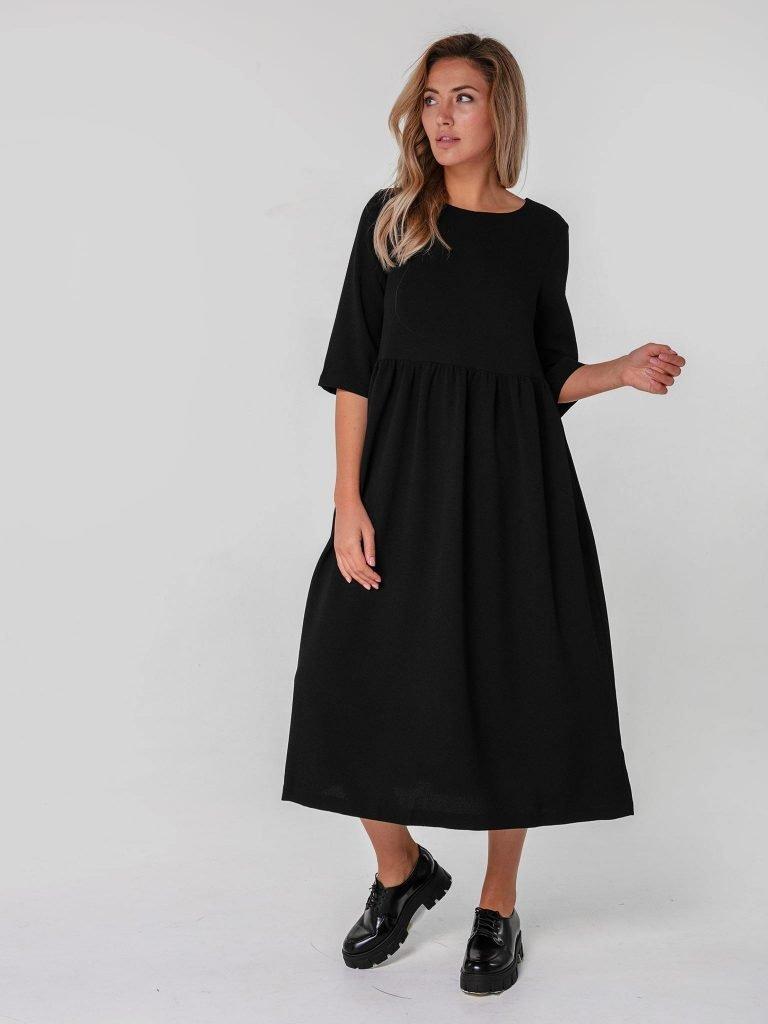 Czarna sukienka maxi luźna w kroju Katarina Ivanenko (zdjęcie 3)
