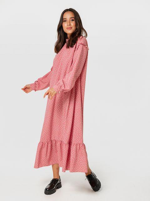 Różowa sukienka midi z falbanką w białe kropki Love&Live