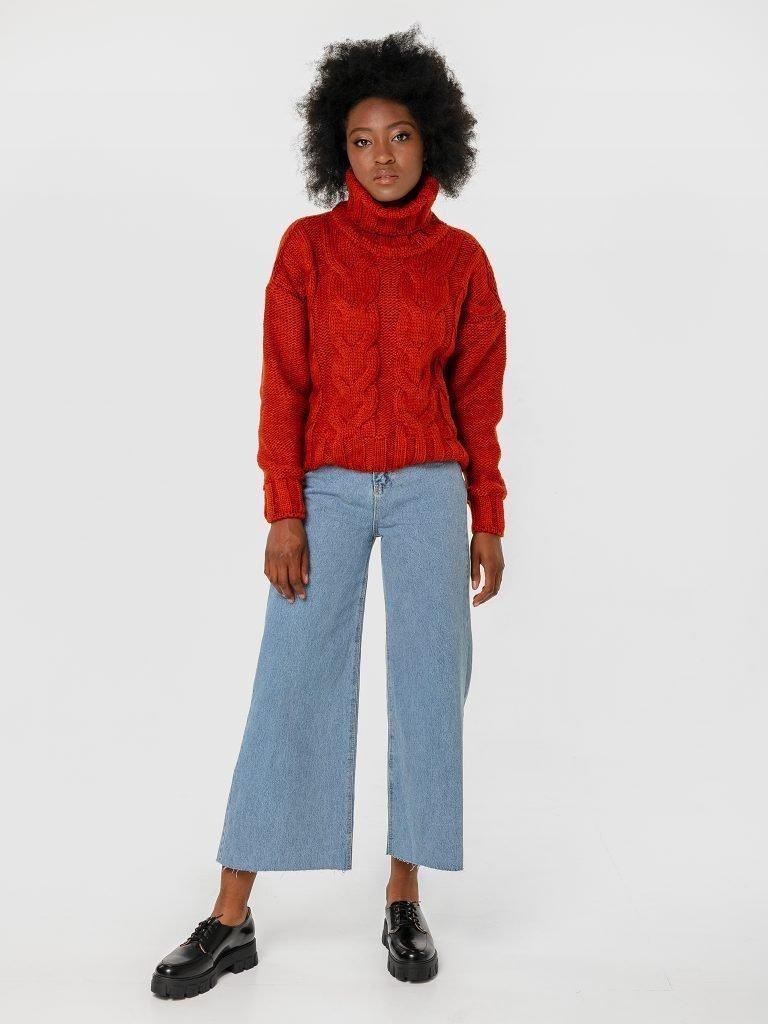 Sweter z warkoczami w kolorze terakoty Katarina Ivanenko (zdjęcie 2)