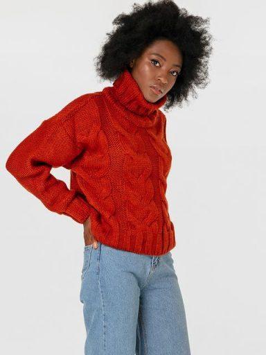 Sweter z warkoczami w kolorze terakoty Katarina Ivanenko