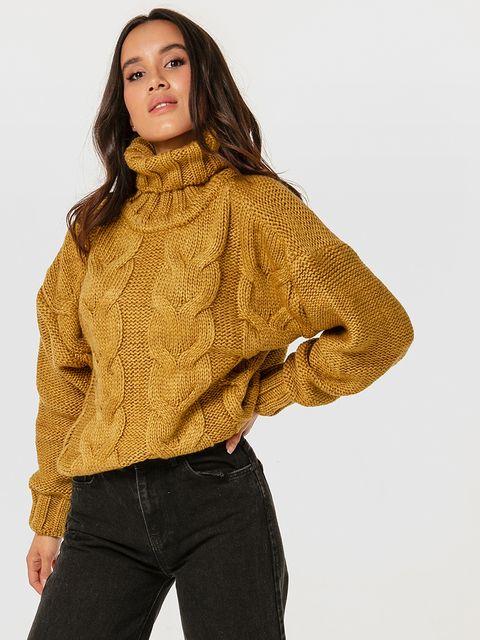 Sweter oliwkowy z warkoczami Katarina Ivanenko
