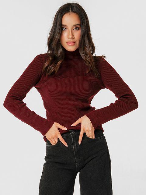 Bordowy sweter z golfem klasyczny Love&Live