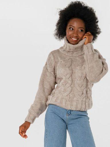 Sweter beżowy z warkoczami Katarina Ivanenko