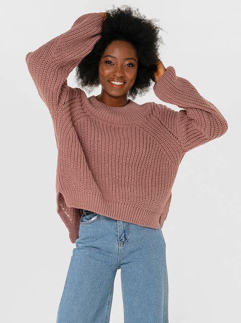 Sweter w kolorze zakurzonego różu o luźnym kroju Katarina Ivanenko