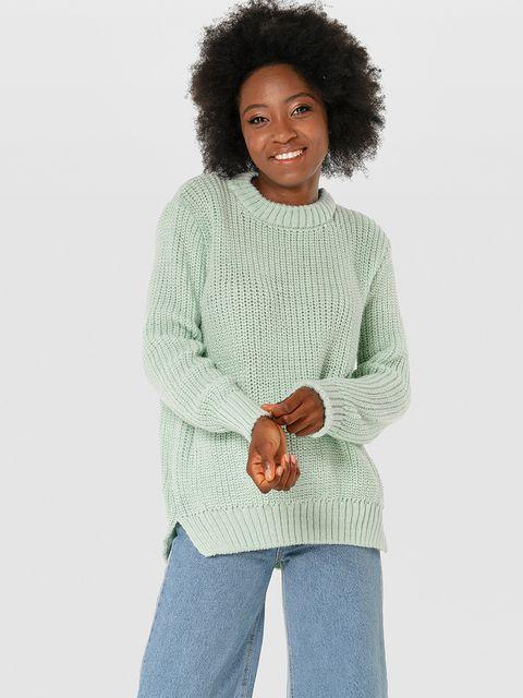 Sweter miętowy z okrągłym dekoltem Love&Live
