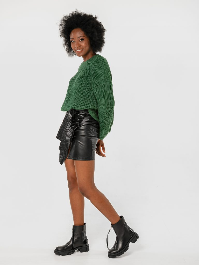 Czarna asymetryczna spódnica mini Katarina Ivanenko (zdjęcie 2)