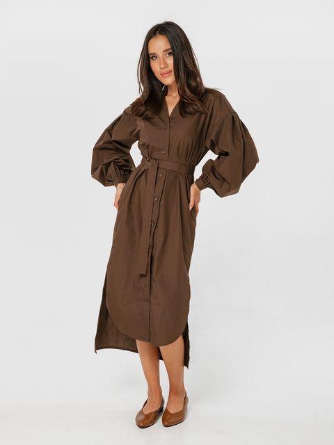 Sukienka koszulowa z pasem w kolorze brązowym Katarina Ivanenko