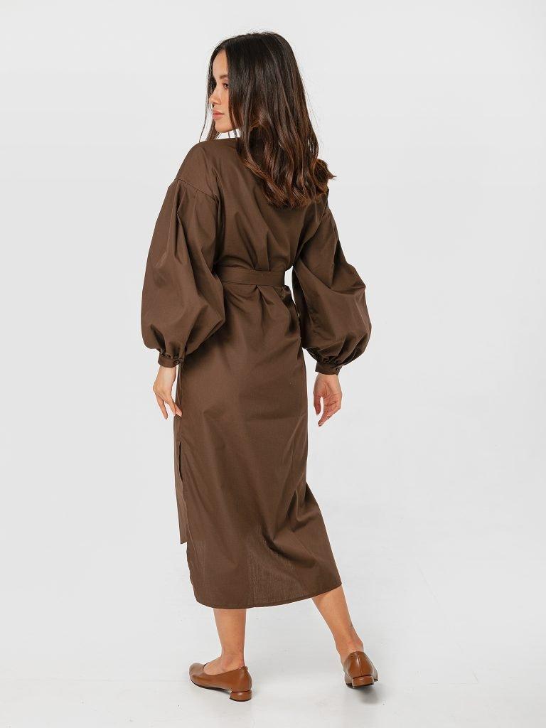 Sukienka koszulowa z pasem w kolorze brązowym Katarina Ivanenko (zdjęcie 3)