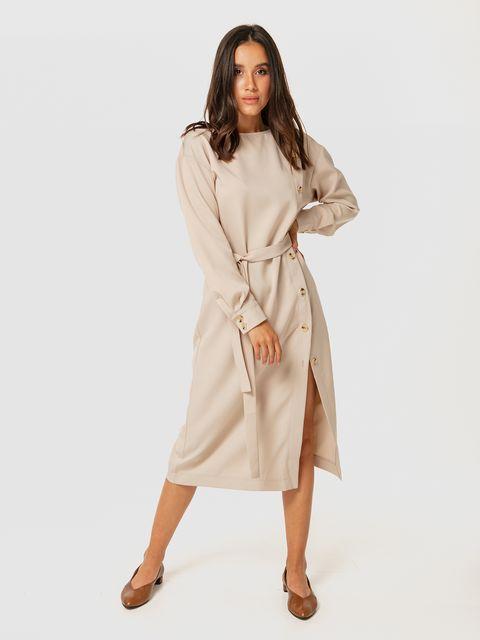 Beżowa sukienka midi z rozcięciem Katarina Ivanenko (zdjęcie 2)