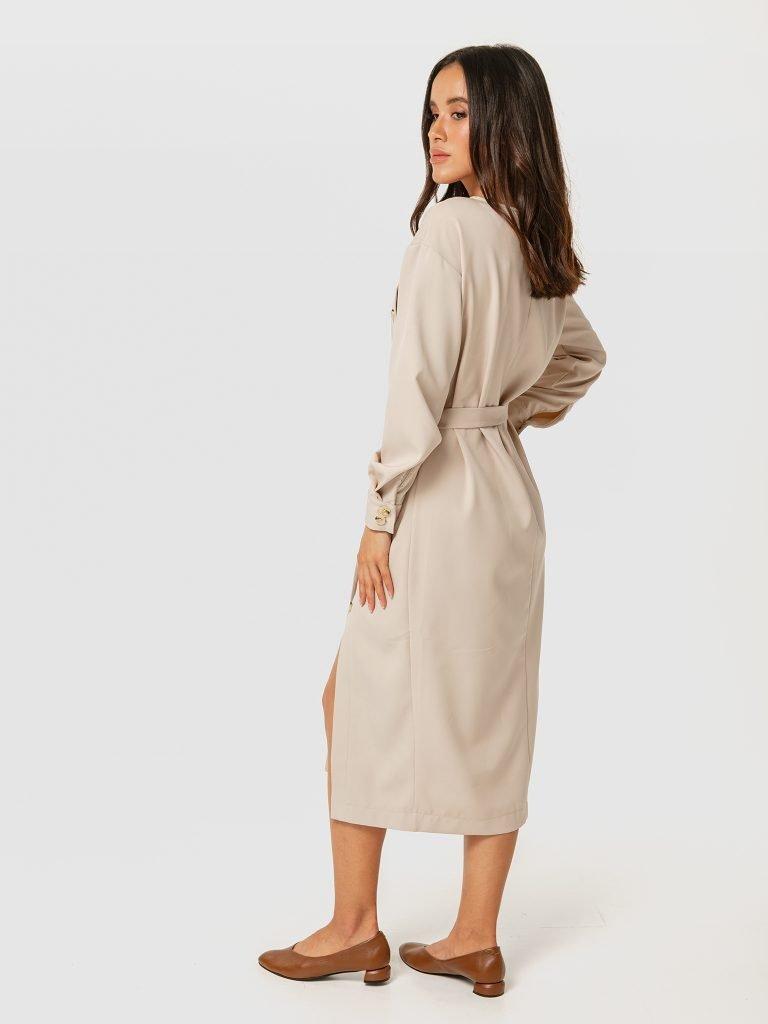 Beżowa sukienka midi z rozcięciem Katarina Ivanenko (zdjęcie 3)