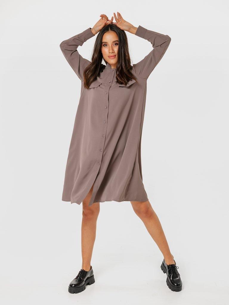 Sukienka koszulowa midi w szarym kolorze Love&Live (zdjęcie 2)