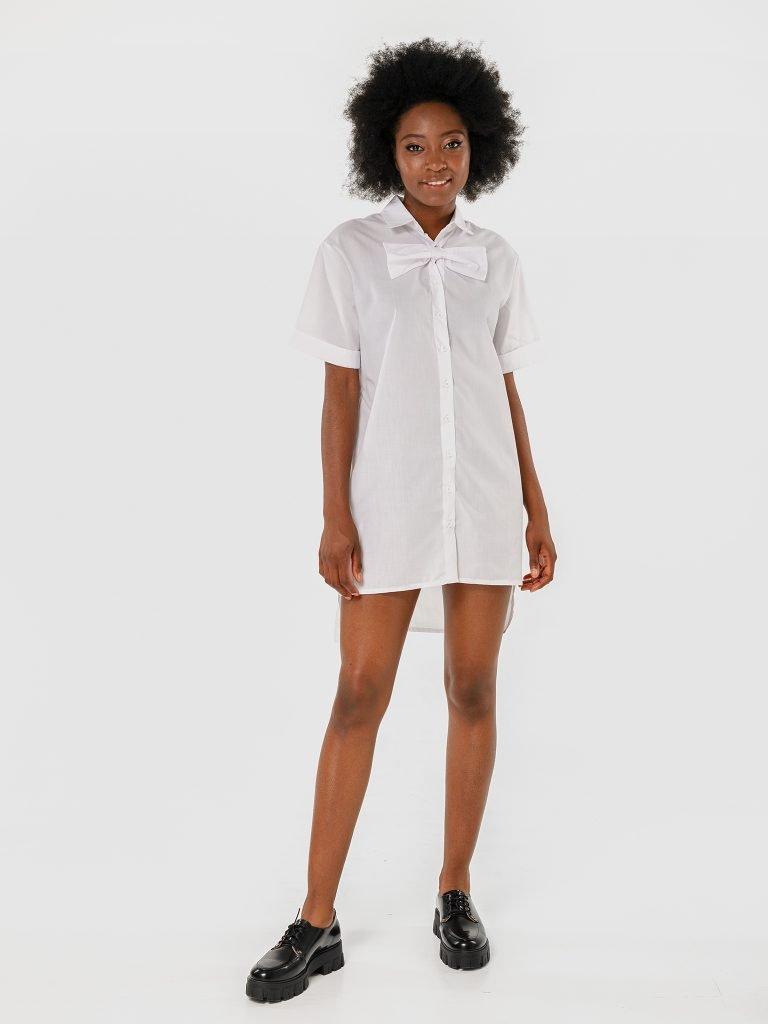 Sukienka koszulowa mini z kokardą w kolorze bieli Katarina Ivanenko