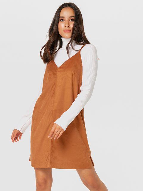 Brązowa sukienka mini z ekologicznego zamszu na ramiączkach Love&Live