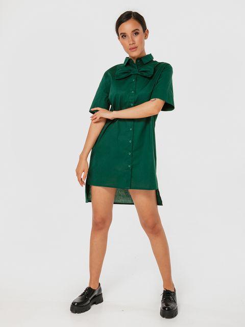 Zielona sukienka koszulowa mini z kokardą Katarina Ivanenko (zdjęcie 2)