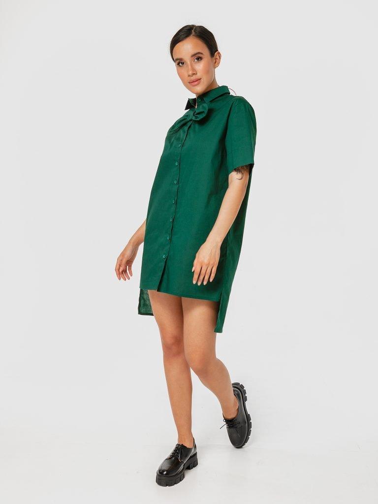 Zielona sukienka koszulowa mini z kokardą Katarina Ivanenko