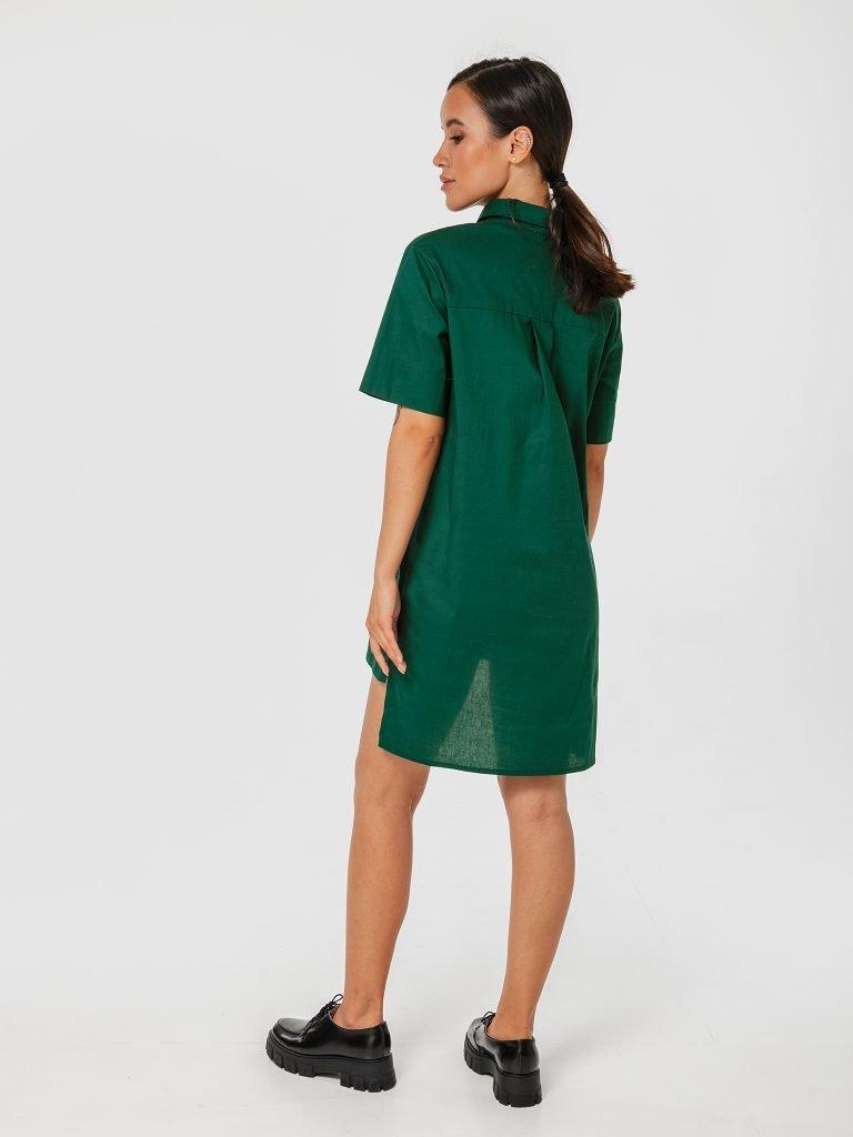 Zielona sukienka koszulowa mini z kokardą Katarina Ivanenko (zdjęcie 3)