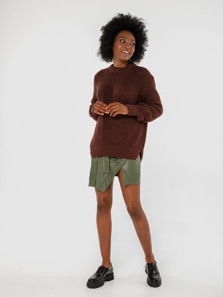 Brązowy sweter z okrągłym dekoltem Love&Live (zdjęcie 3)