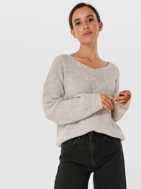 Beżowy sweter z odkrytymi ramionami Katarina Ivanenko
