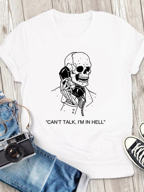 T-shirt męski biały Can't talk I'm in Hell ZUZU