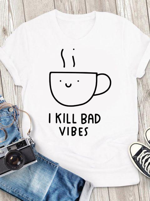 T-shirt męski biały Coffee - I kill bed vibes ZUZU