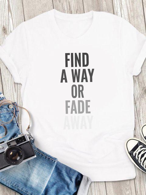 T-shirt męski biały Find away or fade away ZUZU