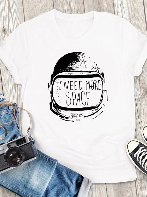 T-shirt męski biały I need more space ZUZU