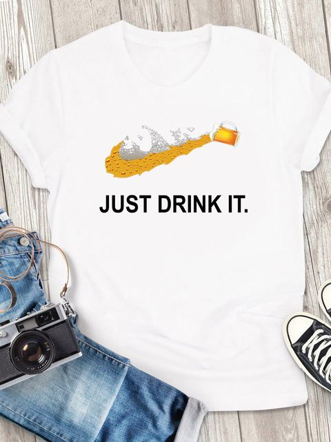 T-shirt męski biały Just drink it ZUZU