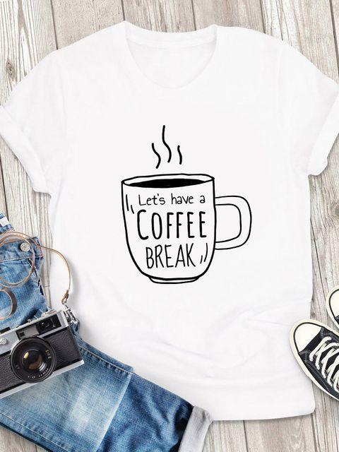 T-shirt męski biały Let's have a coffee break ZUZU