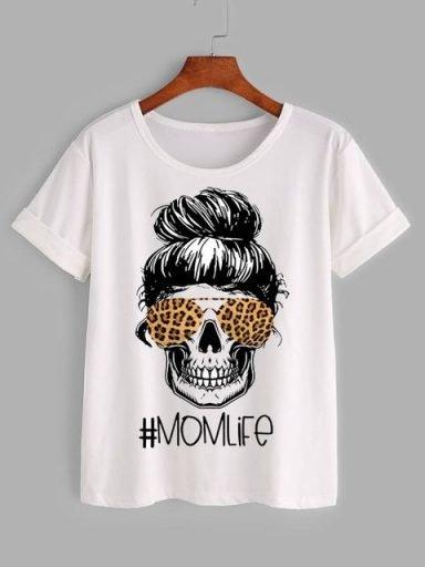 T-shirt biały MOMLIFE Katarina Ivanenko