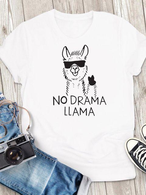 T-shirt męski biały No Drama LLama ZUZU