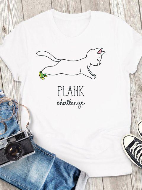 T-shirt męski biały Plank Challenge ZUZU