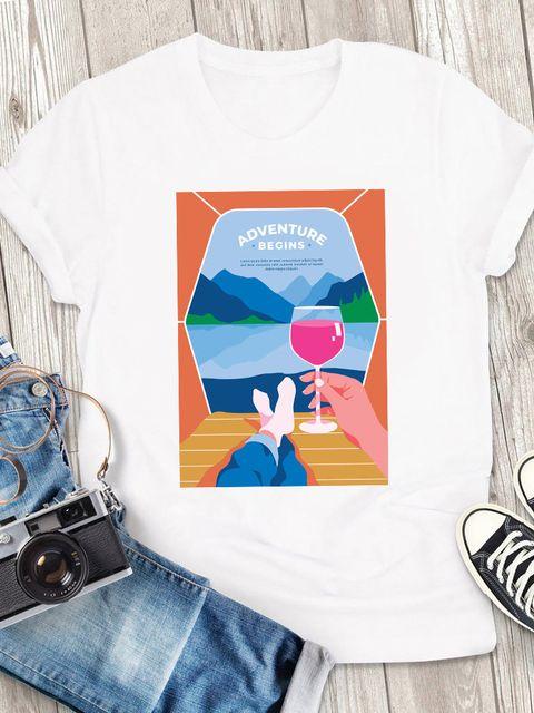 T-shirt męski biały Adventure begins ZUZU
