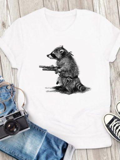 T-shirt męski biały Uzbrojony i Niebiezpieczny ZUZU