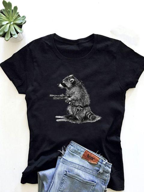 T-shirt męski czarny Uzbrojony i Niebiezpieczny ZUZU