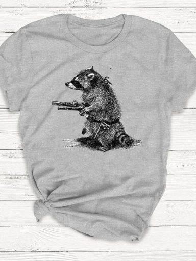 T-shirt męski szary Uzbrojony i Niebezpieczny ZUZU (zdjęcie 5)