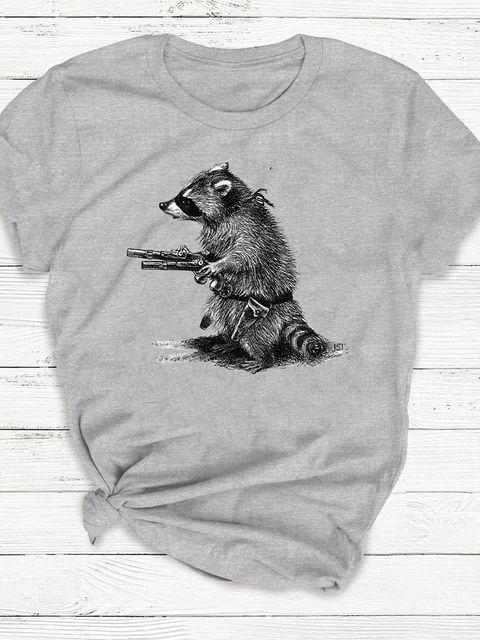 T-shirt męski szary Uzbrojony i Niebiezpieczny ZUZU