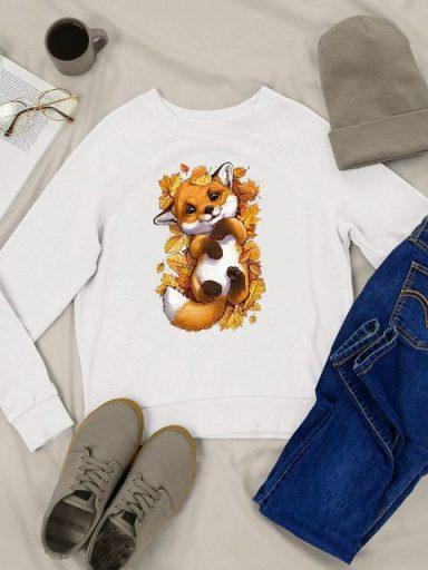 Bluza w kolorze białym w liściach Love&Live
