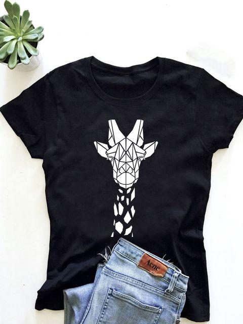 T-shirt męski czarny Żyrafa ZUZU
