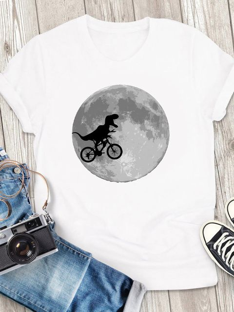 T-shirt męski biały Księżyc ZUZU