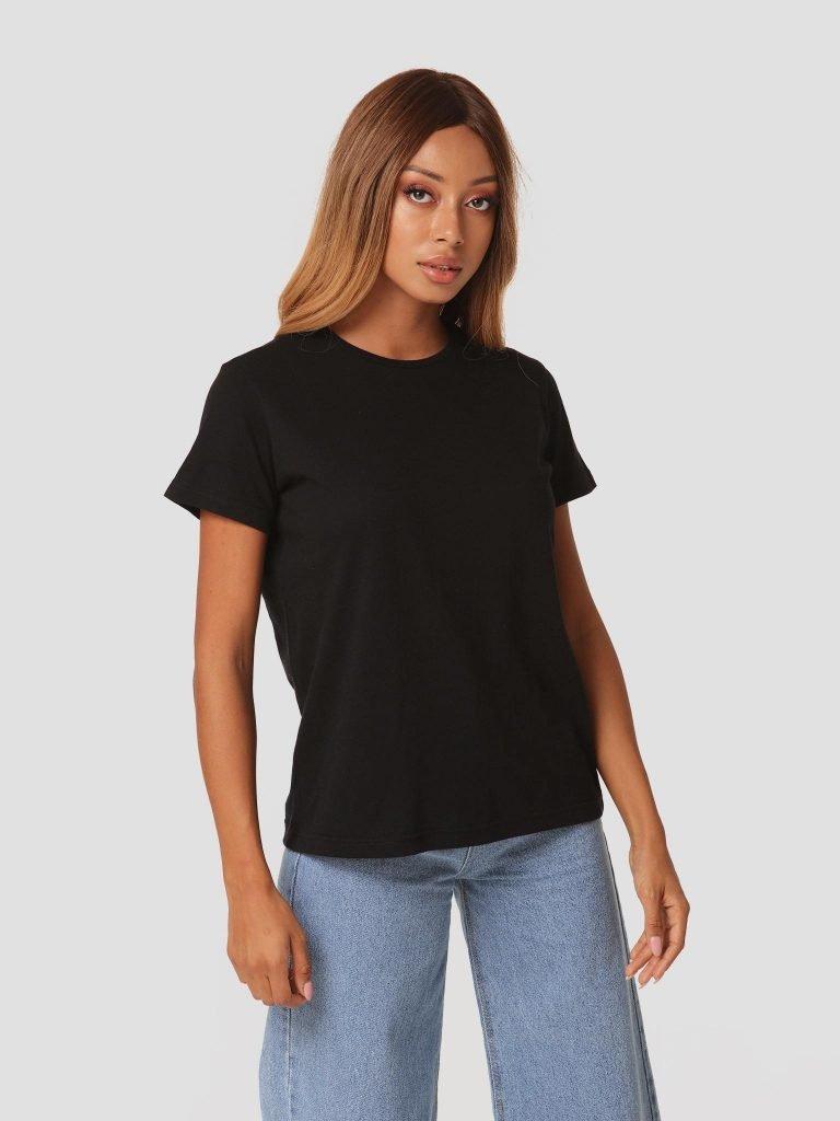 T-shirt czarny z okrągłym dekoltem Zuzu (zdjęcie 4)
