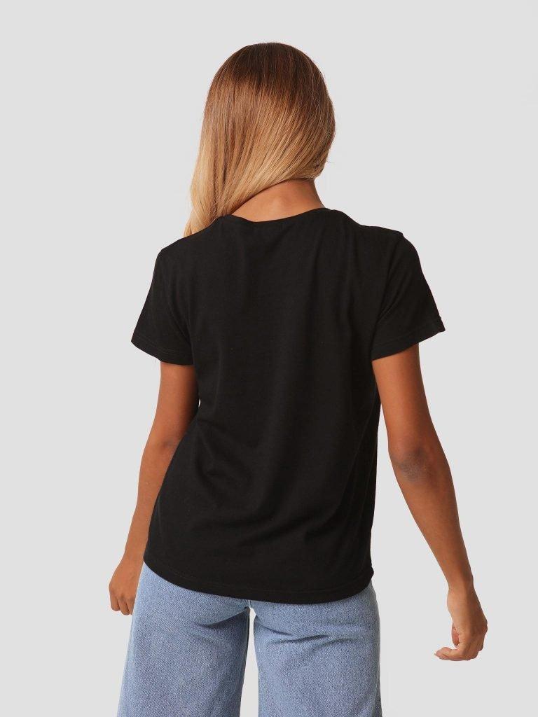 T-shirt czarny z okrągłym dekoltem Zuzu (zdjęcie 5)
