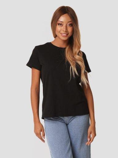 T-shirt czarny z okrągłym dekoltem Zuzu