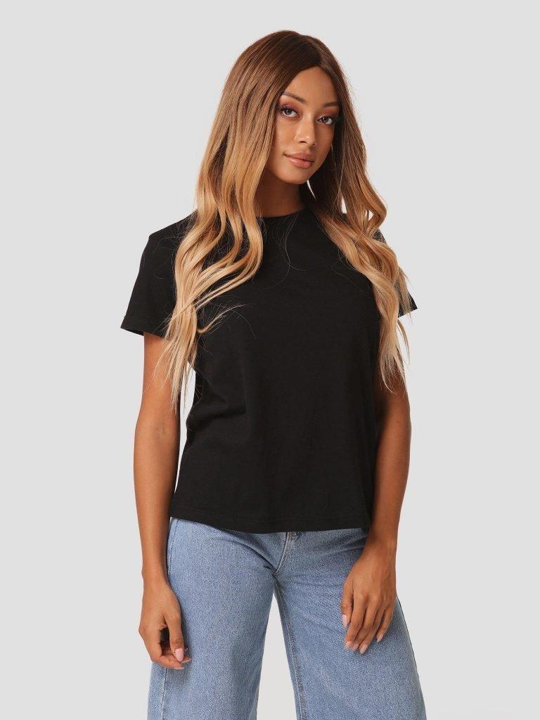 T-shirt czarny z okrągłym dekoltem Zuzu (zdjęcie 2)