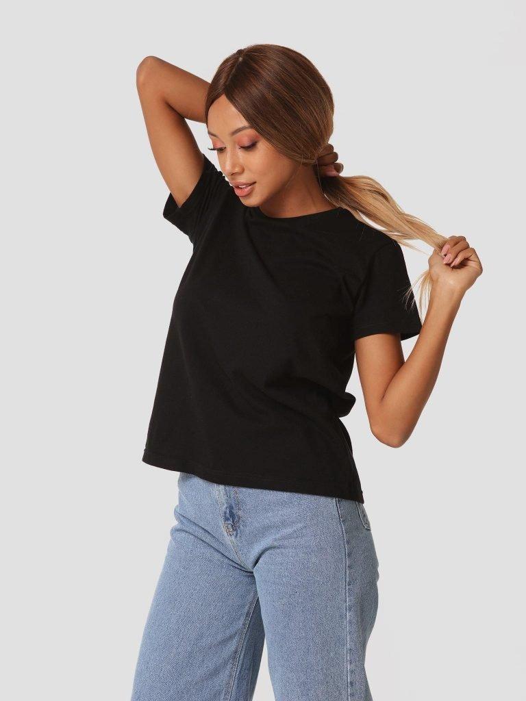 T-shirt czarny z okrągłym dekoltem Zuzu (zdjęcie 3)