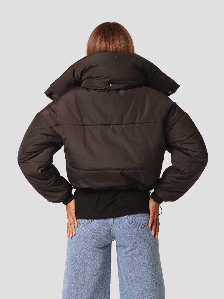 Pikowana czarna kurtka z odpinanym kołnierzem Love&Live (zdjęcie 4)