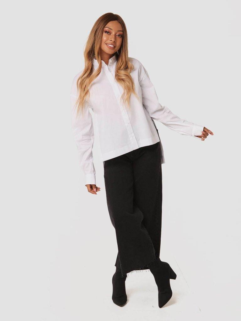 Biała koszula oversize z rozcięciami po bokach Love&Live (zdjęcie 2)