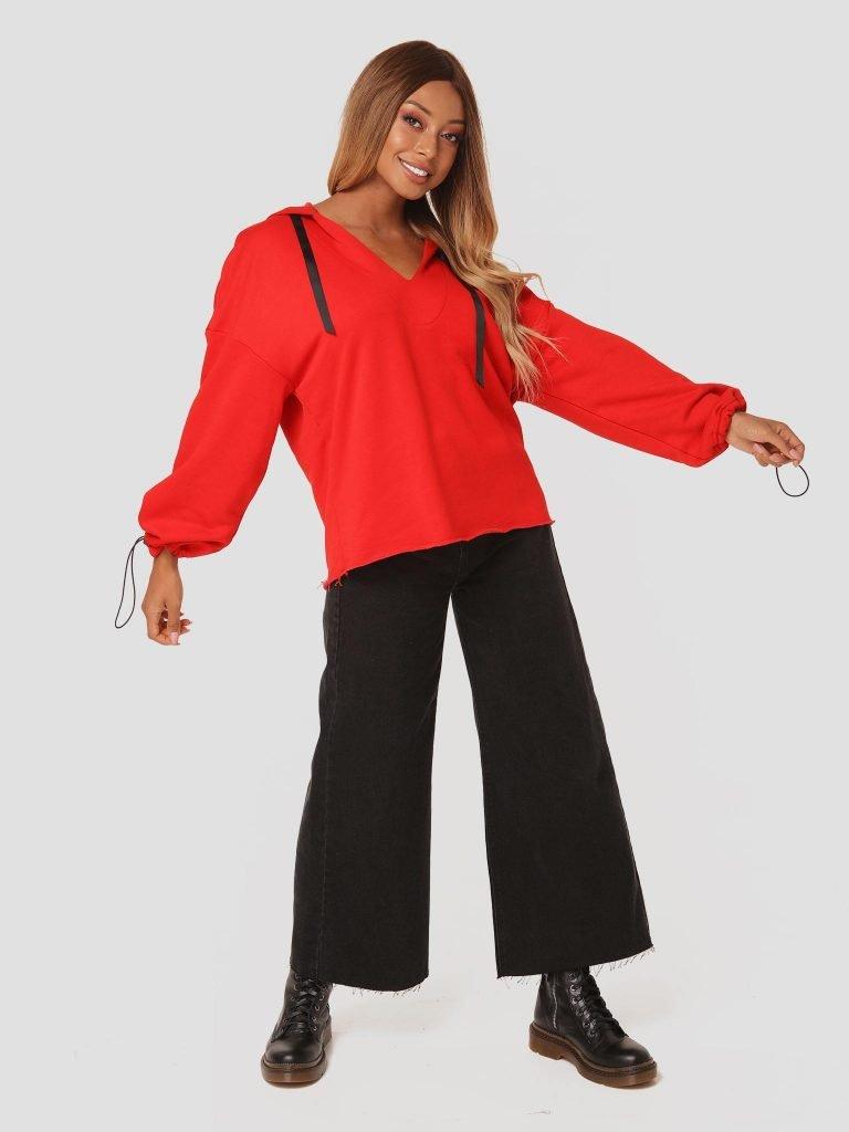 Czerwona bluza z kapturem Katarina Ivanenko (zdjęcie 2)