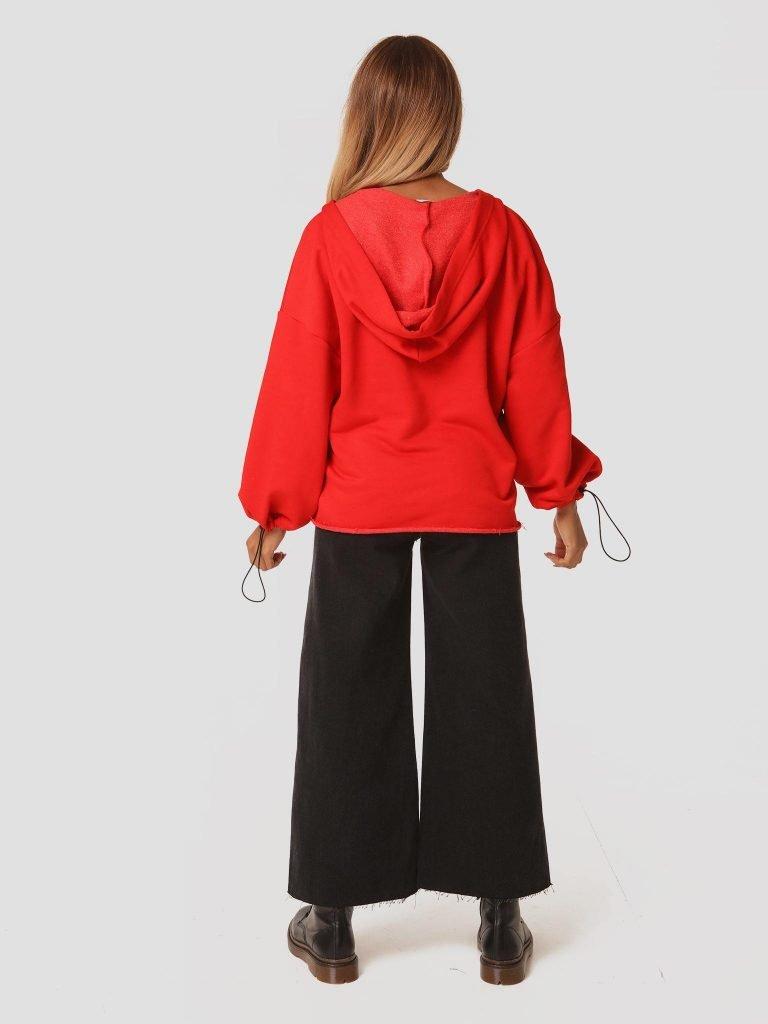 Czerwona bluza z kapturem Katarina Ivanenko (zdjęcie 4)