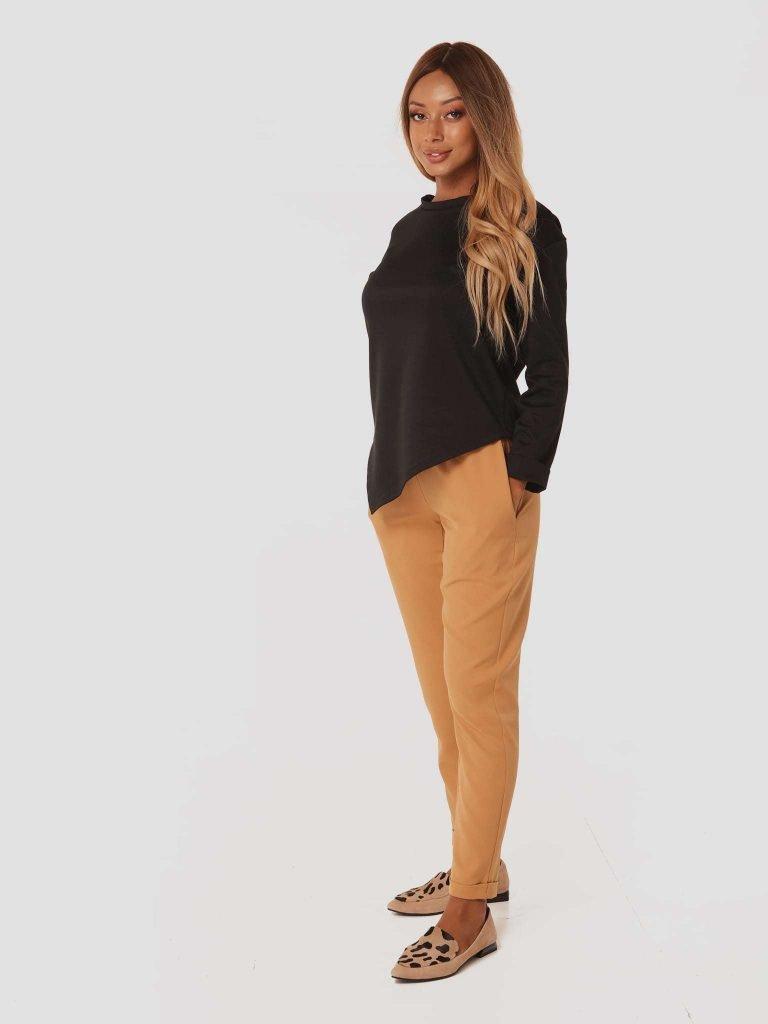 Karmelowe spodnie z gumką Love&Live (zdjęcie 2)